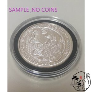 Acrylic Air-Tite Holder Capsule Direct Fit 38.6mm 2 oz Queen Beasts Silver Coin